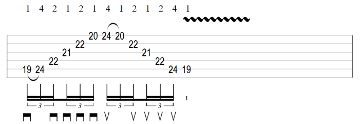 Sweep picking arpeggio inversion tab