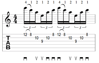A Minor Sweep Picking Tab
