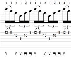 A Minor Sweep Picking Arpeggio Tab