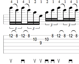A Minor Arpeggio Sweep Picking Tab