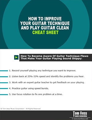Guitar technique and clean playing cheat sheet