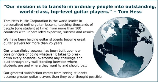 Tom Hess online guitar lessons mission statement